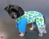 Dog Pajamas with Lime and Turquoise Polka Dots - Warm Dog Clothes - Dog Sweater - 2 Leg and 4 Leg Style