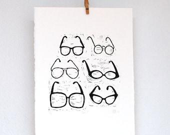 Linocut of 6 eye glasses, linosnede bril, fashion accessories, brillen, pair of eye glasses