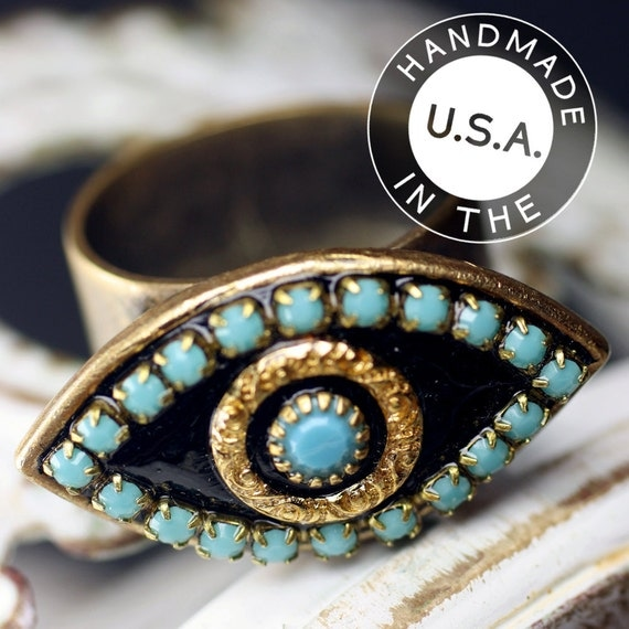 Michal Golan Gold and Turquoise Evil Eye Pendant Ring