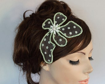 Weddings Head Piece Mint Lush Green Pearl Bridal Flower Hairpiece Fascinator Celadon Polka Dot Alternative Wedding OOAK Hair Brooch