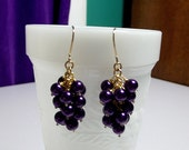 Purple Pearl Cluster Earrings, Mom Sister Bridesmaid Wedding Jewelry Gift, Valentines Mothers Day, Gold Earrings