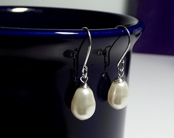 Swarovski White Pearl Tear Drop Earrings, Mothers Day Mom Sister Grandmother Bridesmaid Wife Wedding Birthday Jewelry Gift, Christmas