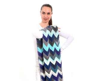 Unique Handmade Blue Scarf, Chevron Geometric Hand Knitted Scarf by Solandia tribal navajo Women fashion Christmas gift Knit fashion
