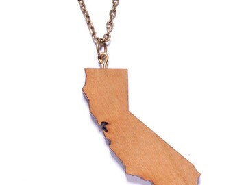 SALE - Wood Necklace - Men's Jewelry - State of California - Wood pendant - Brass chain