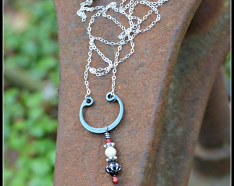 Black White and Red Assemblage Necklace with Silver Chain