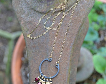Hardware Store Necklace with Garnet Red and Bright Gold Brass accents