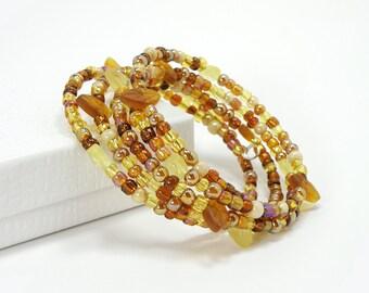 Autumn Colors Wrap Bracelet, Memory Wire Bracelet with Fall Leaves, Fall Colored Bracelet, Autumn Jewelry, Glass Beaded Bracelet