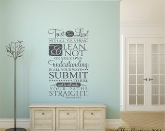 Trust In The Lord Wall Decal - Proverbs 3:5-6 Decal Vinyl Lettering - Scripture Vinyl Wall Decal - Famliy Vinyl Wall Art - Christian Decal