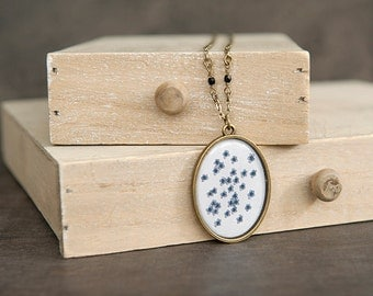 Blue Floral Pendant Necklace. Blue Flower Pendant Necklace. Mothers Day Gift. Valentines Day Gift. Botanical Print. Bridal Long Necklace