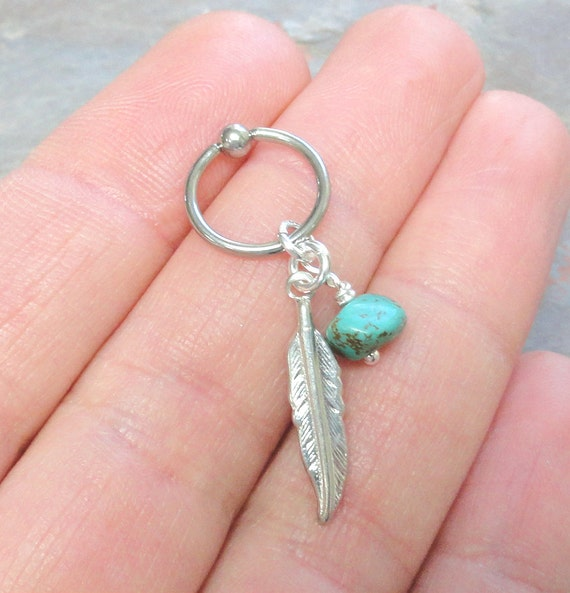 turquoise cartilage hoop silver feather earring boho tragus
