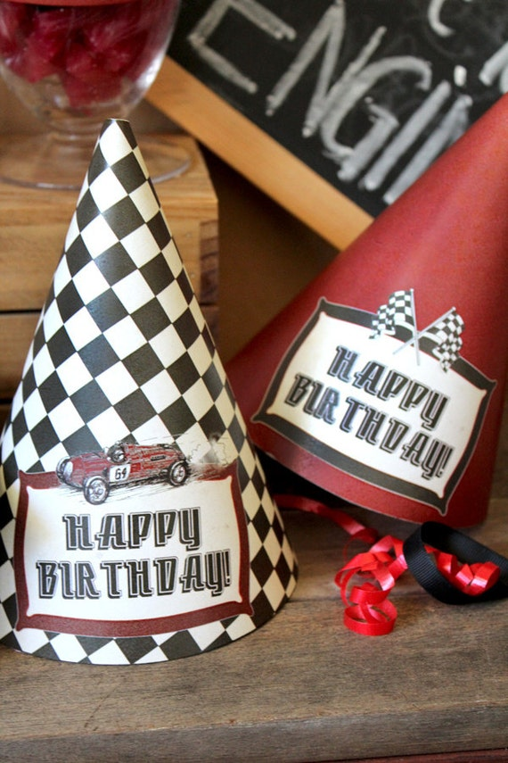 vintage racing car party hats instant download printable