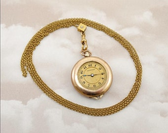 "Antique 1917 HAMPDEN Pocket Watch 7 Jewel Rose Gold Case 10K Gold Plate Chain 30"" w/Pearl Enhancer"