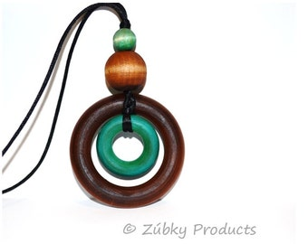 Double Ring Natural Wood Teething Necklace by Zúbky - Brown and Turquoise Blue Wooden Teether Ring Detail - Nursing Necklace