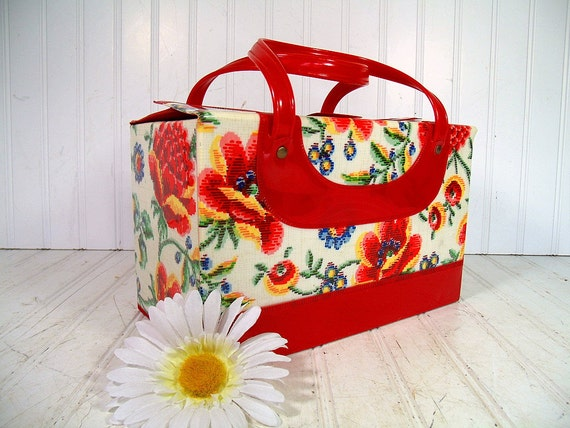 Retro Groovy Floral Red Patent Leather Train Case - BoHo MultiColor Vinyl Travel Tote - Vintage Psychedelic Hippie Carry All - Gorgeous Bag