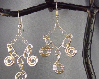 """Wirewrap, 14k Gold Filled Wire and Chain, Earrings  - 2.75"""" - Hand Crafted Artisan Jewelry"""