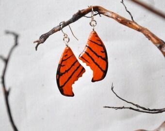 Ruddy Dagger Wing Butterfly Wings Earrings- Carved Walnut Hardwood & Hand Painted - 14 Karat Gold Filled Findings