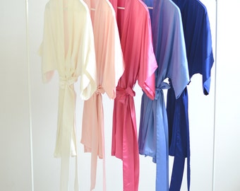 Samantha Silk Kimono Bridal Robe Bridesmaids Robes in Cool Blues & Pinks - ivory rose quartz pink hot blue