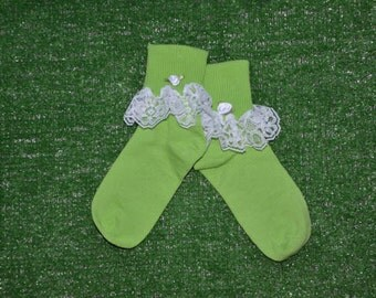 Apple Green -  Lace Socks with Rose for Little Girls - Size 7-8 1/2 (S) - US Shoe Size 9-1