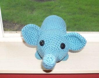 Large Amigurumi Elephant - Colonial Blue  (Finished Doll)