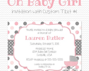 Pink and Gray Baby Shower Invitation, Shabby, Cottage Chic, Pink and Grey Invite, Baby Carriage, Baby Girl Shower -- Printable File