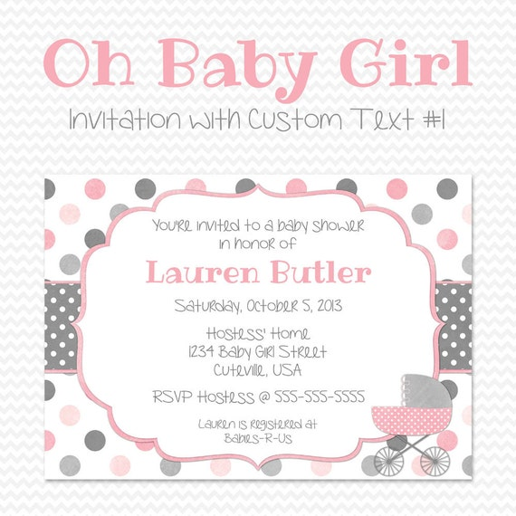 pink and gray baby shower invitation shabby cottage chic pink and