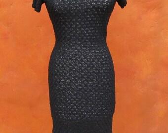 Vintage 1950s 1960s Black Knit Crochet Wiggle Dress. Shell pattern