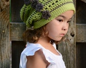 CROCHET PATTERN - Woodland Slouchy - a slouchy hat with flowers in 3 sizes (Toddler, Child, Adult) - Instant PDF Download