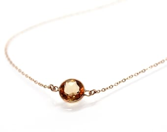 14k Solid Gold Golden Citrine Solitaire Necklace - Small Gemstone Necklace  - Bridesmaids Jewelry -