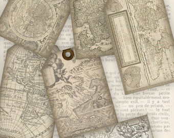 Vintage Maps Tags instant download printable gift tags digital Collage Sheet VD0341