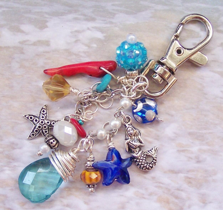 Purse Jewelry: Starfish And Mermaid Purse Charm Keychain Purse Jewelry Bag