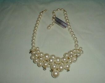 vintage marvella pearl bib necklace crystal bib necklace pearl crystal cluster bib necklace bridal necklace wedding necklace sparkling bib