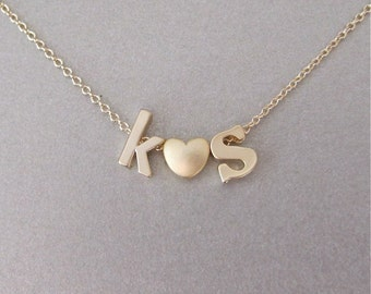 2 Gold Initial & Heart Charm Necklace - Initial Necklace - Monogram Jewelry - Personalized Jewelry