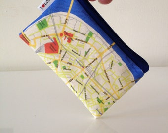 LONDON city Map Wallet - cute coin purse zipper pouch with London map printed on it. With blue zipper