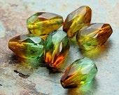 Tropical Topaz Czech Glass 10x7mm Teardrop Beads -12