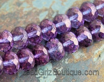Czech Glass Amethyst Luster Rondelle 9x6mm Beads-  7 inch strand