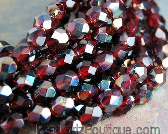 6mm Ruby Celsian Crystal Czech Glass Faceted Bead  -25 czech beads