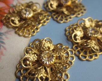 Vintage Swarovski Crystal Filigree Finding