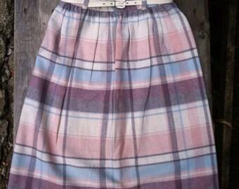 80s Vintage Robyn Pastel Wool Blend Plaid Skirt