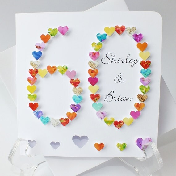 Diy Wedding Anniversary Gifts: 60th Wedding Anniversary Card Handmade Diamond Wedding