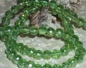 Peridot Crystal AB Faceted Round beads-(6 mm)-full strand