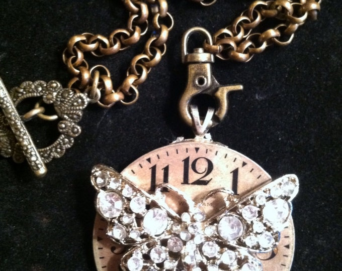 When Time Stood Still...~ Gorgeous Vintage Upcycled Watch-face and Butterfly Necklace, Shabby Chic, Junk Gypsy, Boho