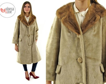 Vintage 60s Faux Mink Fur Coat / Blonde Faux Mink Coat / 60s Mod Faux Fur Coat / md lg