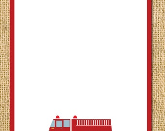 INSTANT DOWNLOAD Printable Firetruck Party Thank You Card - Birthday DIY - child children invite fireman fire flames hose rescue hero