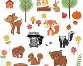 Clip Art Set - Woodland Forest Animals - Fox Racoon Bear Rabbit Squirrel Tree Acorn Flowers - 35 Digital Files - JPG and PNG Format - ID246
