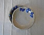 Butterfly dish, Tapas dish, Trinket bowl with blue butterflies - handbuilt stoneware