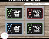Star Wars Party Food Label or Food Buffet Tag - Lightsaber - INSTANT DOWNLOAD and EDITABLE template - type your own text in Adobe Reader