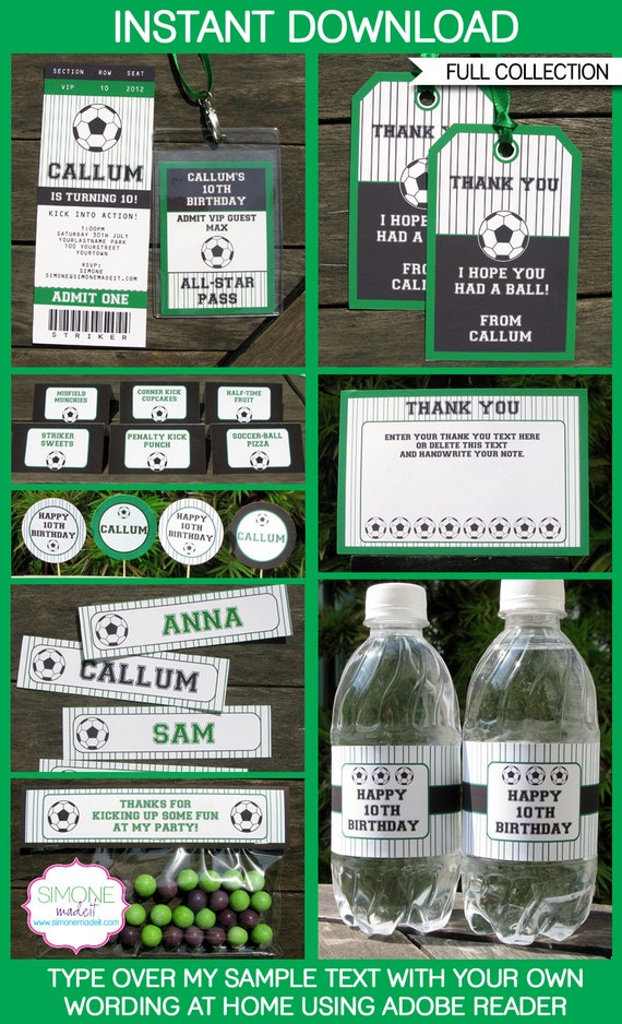 Soccer Party Invitations & Decorations - full Printable Package - INSTANT DOWNLOAD with EDITABLE text - you personalize at home