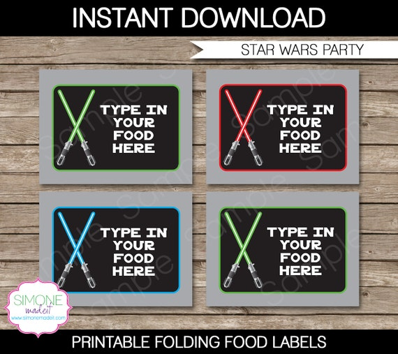Star Wars Food Labels Buffet Tags Tent Cards By SIMONEmadeit