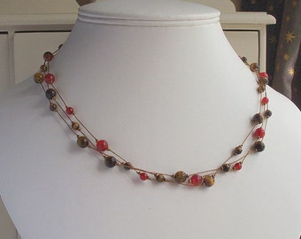 Carnelian & Gold Tigers Eye Necklace ~ Uplifting Necklace