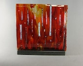 Art Glass Sculpture Abstract Dimensional Fused Panel Fireworks Artist Signed